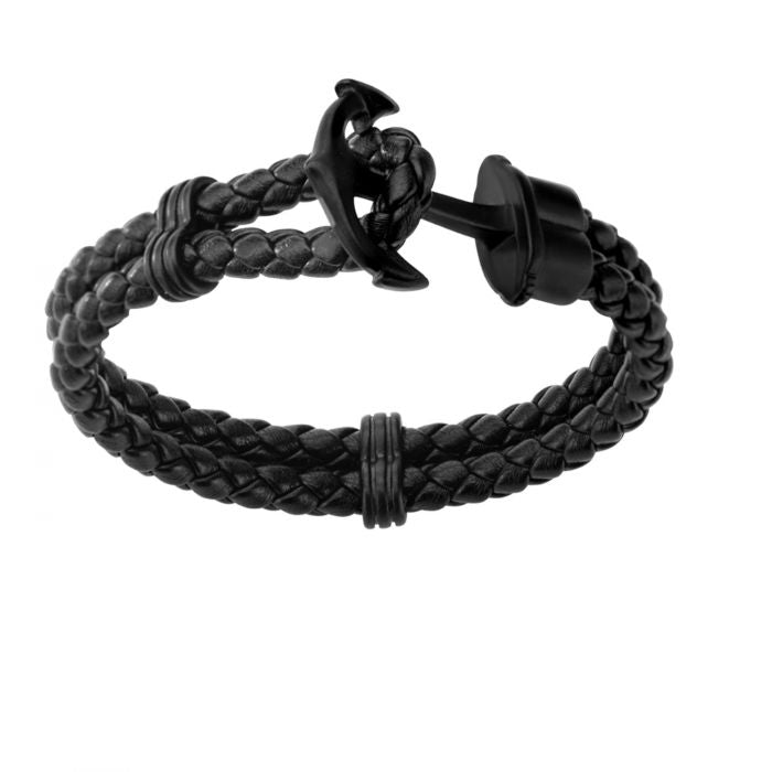 Double Black Braided Leather with Steel Black Plated Anchor Clasp Bracelet - Men of Zen
