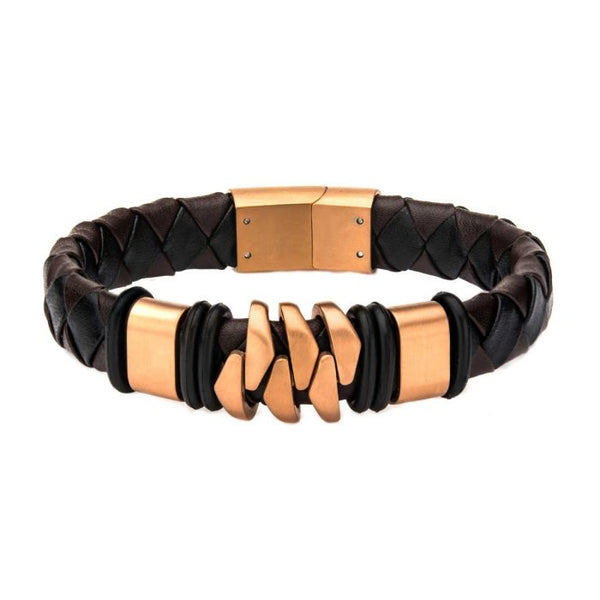 Rose Gold Plated and Brown Leather Bohemian Bracelet - Men of Zen