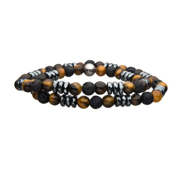 Double Wrap 6mm Lava, Tiger-Eye and Hematite Stones Bracelet - Men of Zen