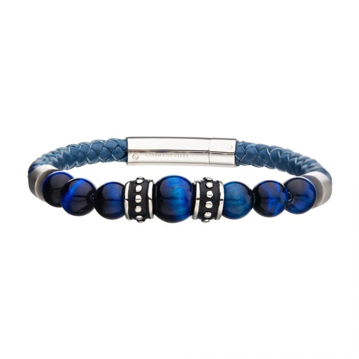 Blue Genuine Leather with Steel & Blue Tiger Eye Beads Bracelet - Men of Zen