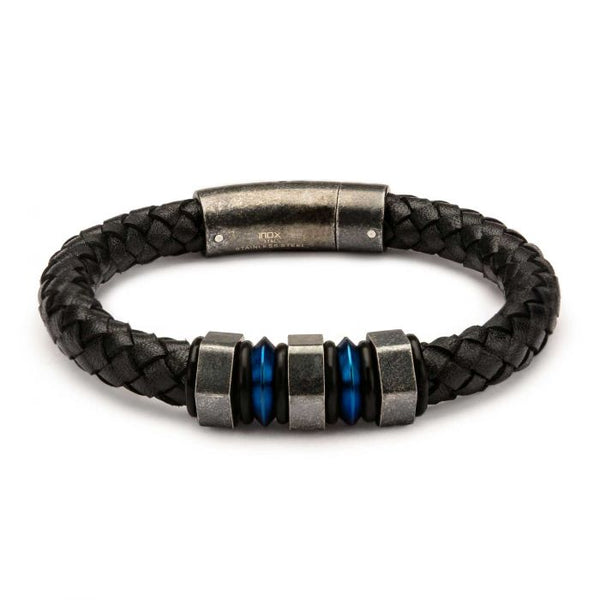 Black Braided Leather with Steel Blue Plated & Gray Beads Bracelet - Men of Zen