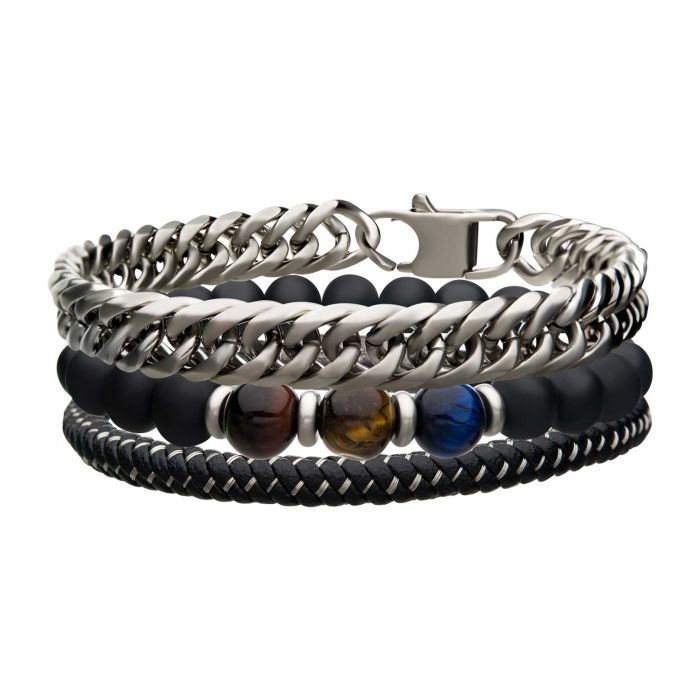 Black Braided Leather, Stone Beads and Stainless Steel Curb Chain Stackable Bracelet - Men of Zen