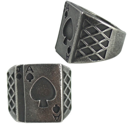 Stainless Steel Ace of Cards Ring - Men of Zen