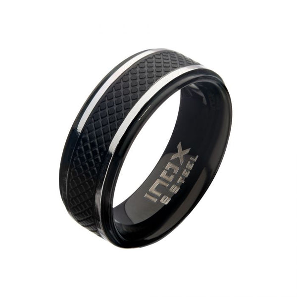 Matte Stainless Steel & Black IP Quilt Ring