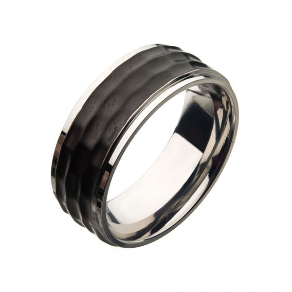 Stainless Steel with Black IP Hammered Inlay Ring