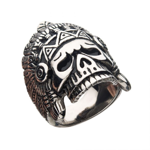 Oxidized Stainless Steel Chief Skull Ring