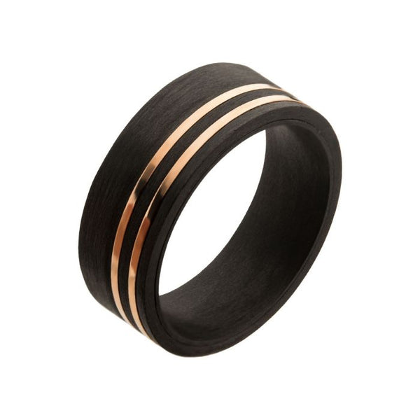 Solid Carbon with Inlayed Rose Gold Thin Lines Comfort Fit Ring