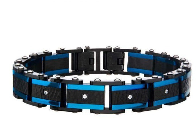 Two Tone Blue Hammered Bracelet with CZ's - Men of Zen