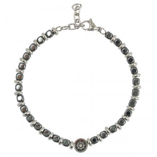 Stainless Steel Grey Beads Bracelet with Nautical Wheel Charm - Men of Zen