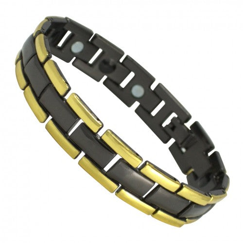 Stainless Steel Magnetic Bracelet Yellow Black