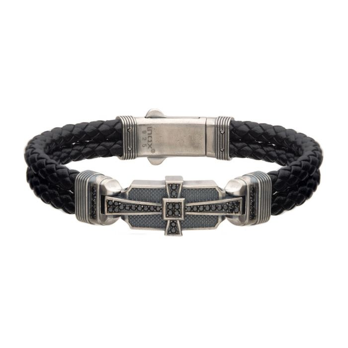 Genuine Sterling Silver with Double Braid Black Leather and 40pc Black CZ Bracelet - Men of Zen