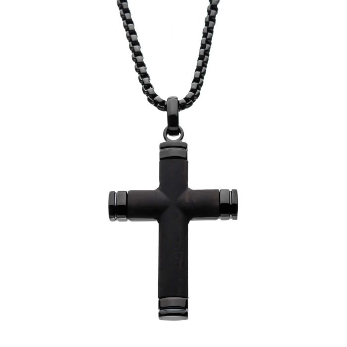 Black Plated Genuine Ebony Wood Inlayed Cross Pendant with Black Bold Box Chain - Men of Zen