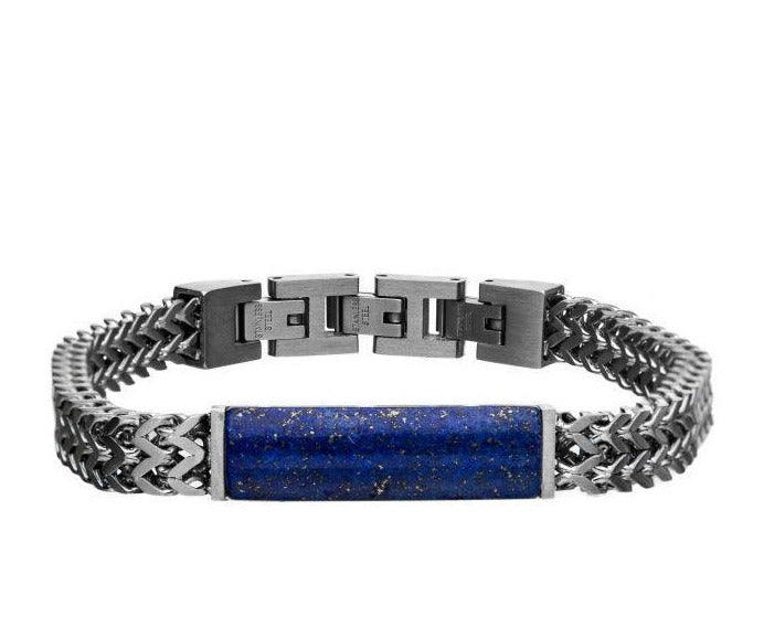 Stainless Steel Double Franco Chain with Lapis Stone Bracelet - Men of Zen
