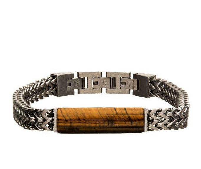 Stainless Steel Double Franco Chain with Tiger Eye Stone Bracelet - Men of Zen