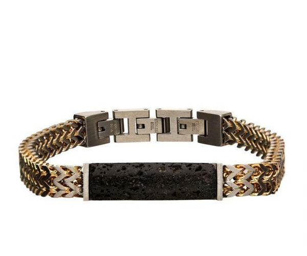Stainless Steel Gold Plated Double Franco Chain with Lava Stone Bracelet - Men of Zen