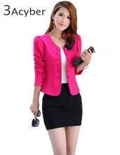 Load image into Gallery viewer, Slim Blazer Women Autumn Double Breasted Woman Coat Blazers Short Design Long Sleeve Cardigan Coat Female Short Jacket