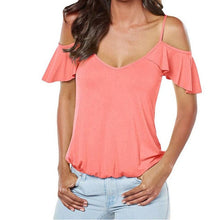 Load image into Gallery viewer, Sexy Backless Cross Blouse Women V-neck Short Sleevess Shirt Tops Chemise Femme Elegant Ruffle blouses