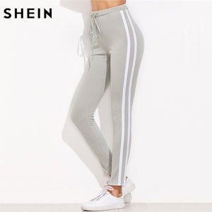 High Waist Pants Skinny Pants Grey Ribbed Knit Striped