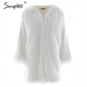 Ladies Fluffy Faux Fur Coat