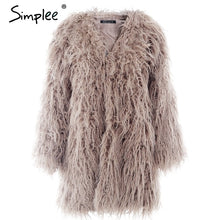 Load image into Gallery viewer, Ladies Fluffy Faux Fur Coat