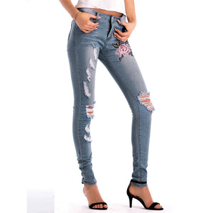 Ladies Skinny Ripped Hole Jeans Pants