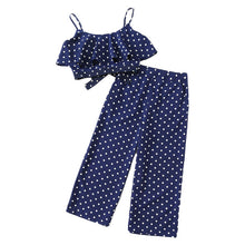Load image into Gallery viewer, Ladies  Polka Dot Crop Cami Top And Palazzo Pants Set
