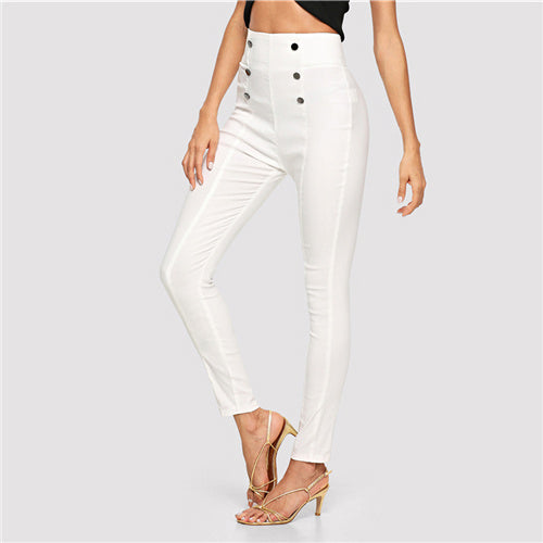SHEIN Beige Double Button Embellished Skinny Pants Elegant Workwear High Waist Trousers Women Autumn Tapered Carrot Pants