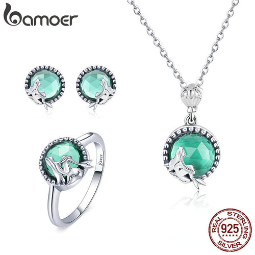 BAMOER Authentic 925 Sterling Silver Mermaid' Missing Fairy Tale Earrings Ring Jewelry Set Sterling Silver Jewelry Gift ZH066