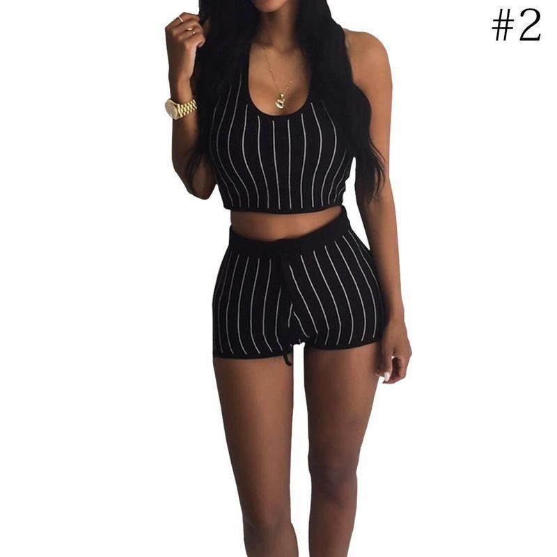 2 Piece Women Striped Top Set  Casual Blouse With Cap Short Pant Casual Outfit