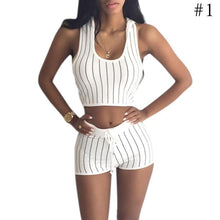 Load image into Gallery viewer, 2 Piece Women Striped Top Set  Casual Blouse With Cap Short Pant Casual Outfit