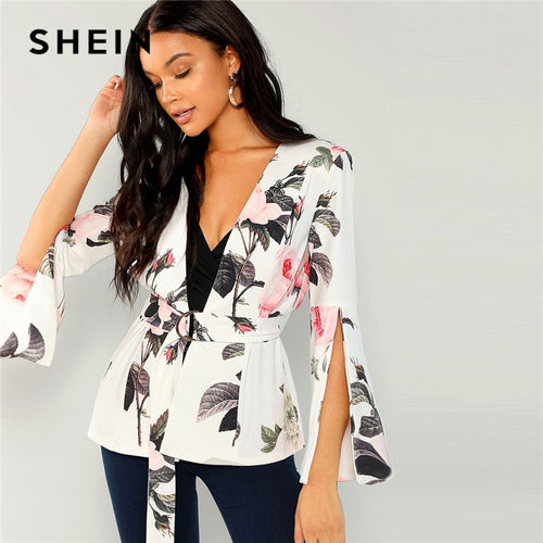 Ladies Floral Split Sleeve Belted  Wrap Blazer