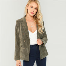 Load image into Gallery viewer, SHEIN Army Green Office Lady Highstreet Double Breasted Notched Neck Solid Fashion Blazer Autumn Elegant Women Coat Outerwear