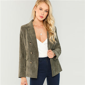 SHEIN Army Green Office Lady Highstreet Double Breasted Notched Neck Solid Fashion Blazer Autumn Elegant Women Coat Outerwear