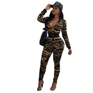 Women  Sexy Bodycon Long Sleeve Africa Print V-Neck Split 2 Piece  Clothes
