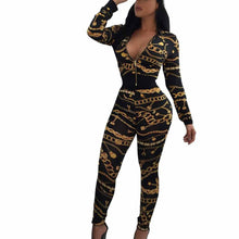 Load image into Gallery viewer, Women  Sexy Bodycon Long Sleeve Africa Print V-Neck Split 2 Piece  Clothes