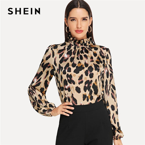 Ladies Casual Mock Neck Leopard Print Blouse