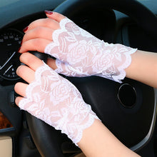 Load image into Gallery viewer, Women Fingerless Lace Driving Fishnet Gloves