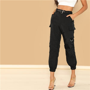 Black Casual Solid Pocket Patched Pants
