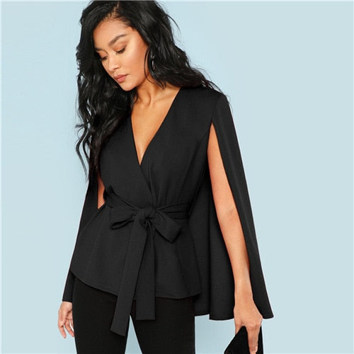 SHEIN Workwear Black Deep V Neck Surplice Neck Tie Waist Cloak Sleeve Cape Coat 2018 Streetwear Modern Lady Outerwear Coat New