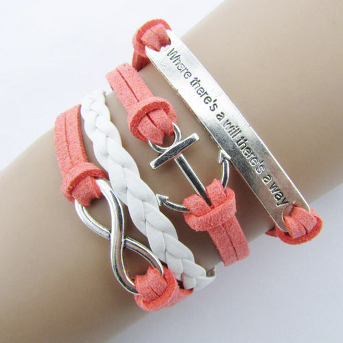 Anchor Infinity Braided Bracelet Pink
