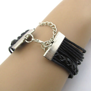 Anchor Infinity Owl Braided Nautical Bracelet Black