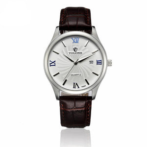 Men's Date Stainless Steel/Leather Watch