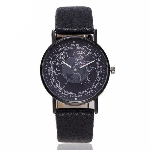 Men / Women's World Map White/Black/Red Face Watch