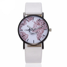 Load image into Gallery viewer, Men / Women's World Map White/Black/Red Face Watch