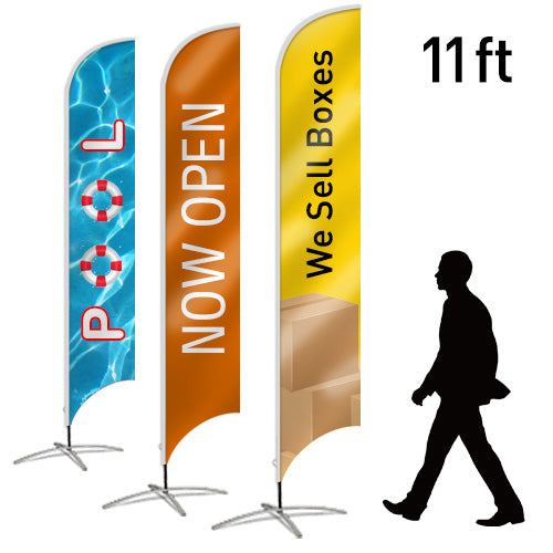 Design Your Own Blade Flag, 2-Sided, 11ft - Lumbini Graphics