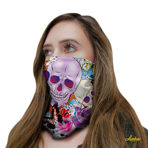 Skull and Roses Neck Gaiter