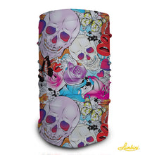 Load image into Gallery viewer, Skull and Roses Neck Gaiter