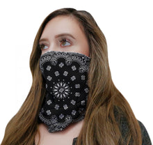 Load image into Gallery viewer, Black Bandana Neck Gaiter