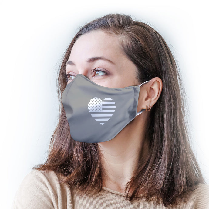 Gray Heart Flag Protective Reusable Face Mask