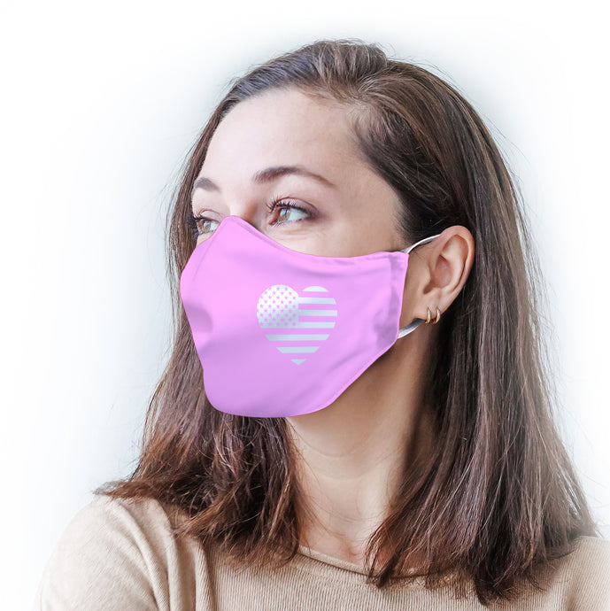 Pink Heart Flag Protective Reusable Face Mask